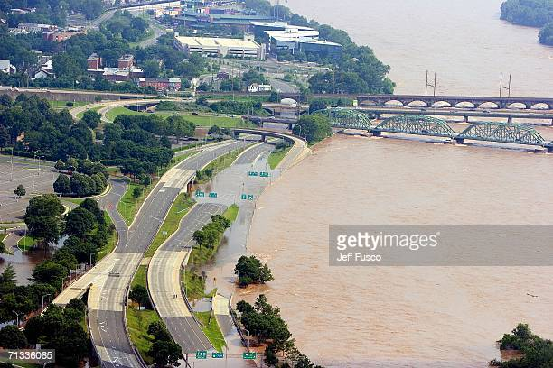 Flooded areas along the Delaware River are shown June 29 2006 south of Trenton New Jersey Days of heavy rain have forced thousands to evacuate...