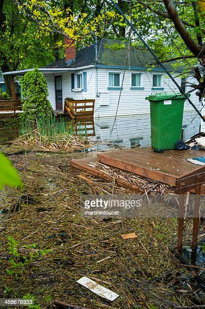 Flooded backyard of a residential house.