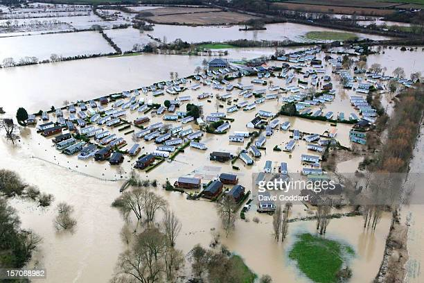 NOVEMBER 27 A flooded caravan park at Abbots Salford on the banks of the river Avon in this aerial photograph on November 27 2012 in Abbots Salford...