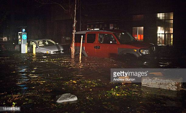 Flooded cars caused by Hurricane Sandy are seen on October 29 in the Financial District of New York United States Hurricane Sandy which threatens 50...