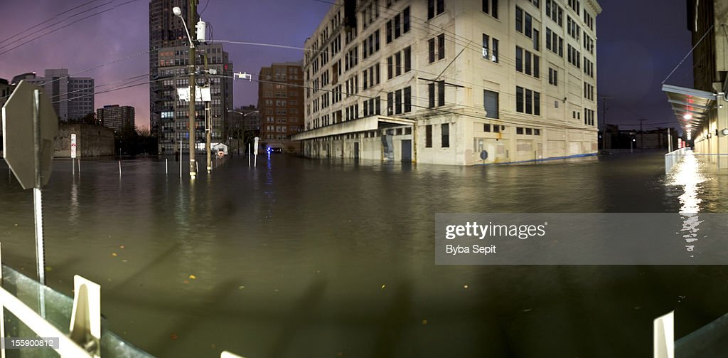 Flooded city streets. : Stock Photo