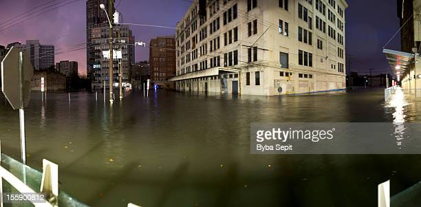 Flooded city streets.