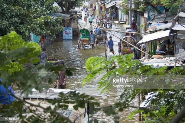 Flooded community of Demra in Dhaka city Bangladesh July 30 2007