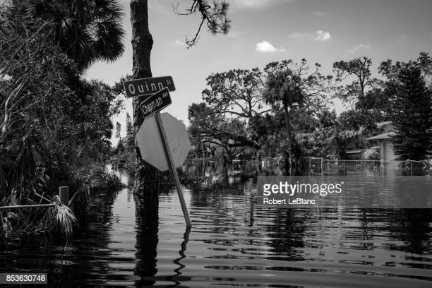 flooded cross streets - orkaan irma 2017 stockfoto's en -beelden