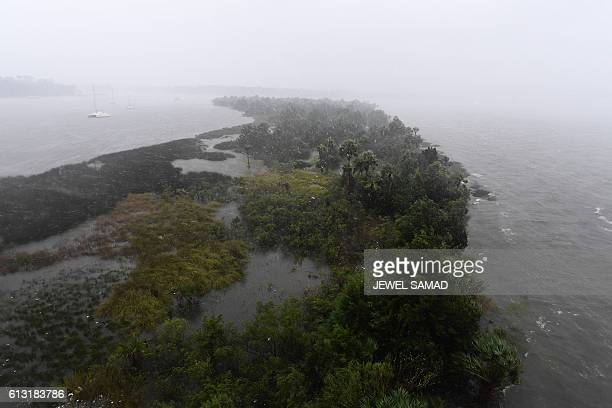 A flooded Exchange Club island is pictured in Jacksonville Florida on October 7 as hurricane Matthew passes the area Thousands of US coastal...