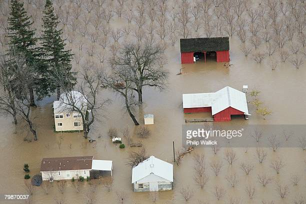 flooded farm - california flood stock photos and pictures