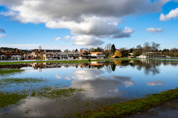Flooded fields in Henley town centre