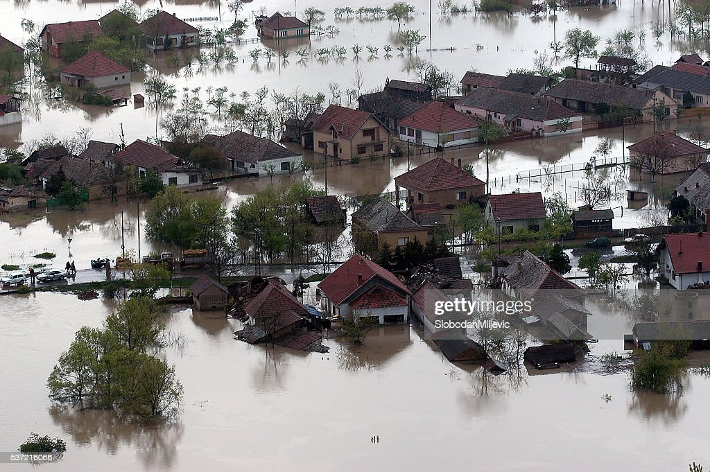 Flooded house aerial view : Stock Photo