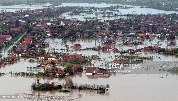 flooded house aerial view - natural disaster stock pictures, royalty-free photos & images
