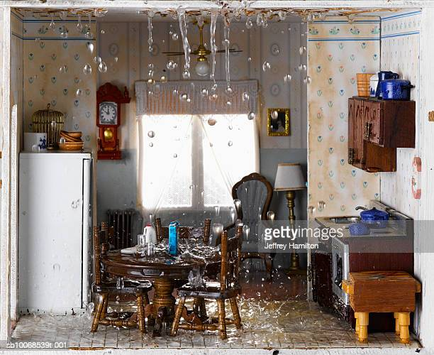 flooded house and ceiling leaking water into kitchen - flooding stock photos and pictures