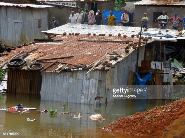 A flooded house is seen at Regent region of Freetown after landslide struck the capital of the west African state of Sierra Leone on August 15 2017...