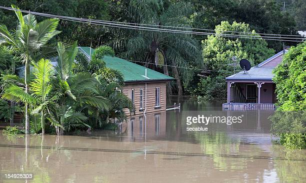 flooded houses - queensland stock pictures, royalty-free photos & images