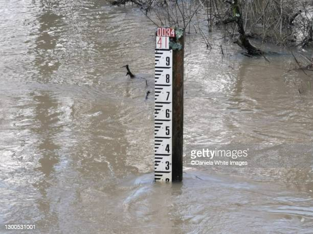 flooded land near the canal on run common road, cranleigh, surrey - extreme weather stock pictures, royalty-free photos & images