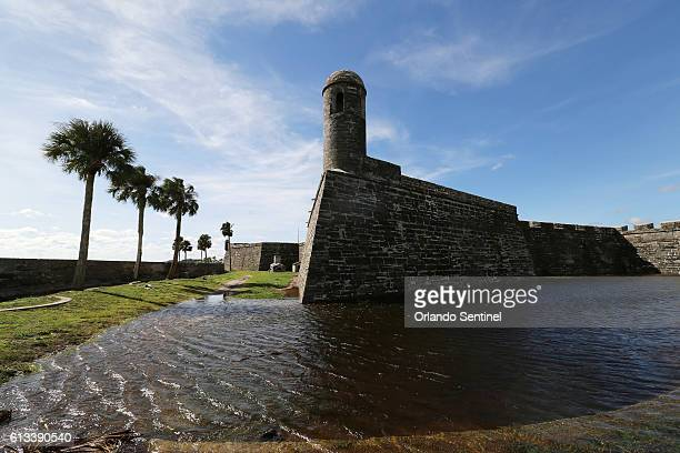 Flooded moat in the grounds of Castillo de San Marcos in the wake of Hurricane Matthew in St Augustine Fla on Saturday Oct 8 2016