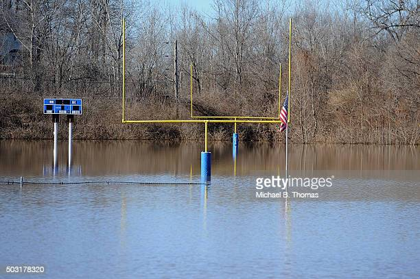 A flooded out football field is seen at the Jefferson County Youth Association on January 2 2016 in Arnold Missouri After the record crest of the...