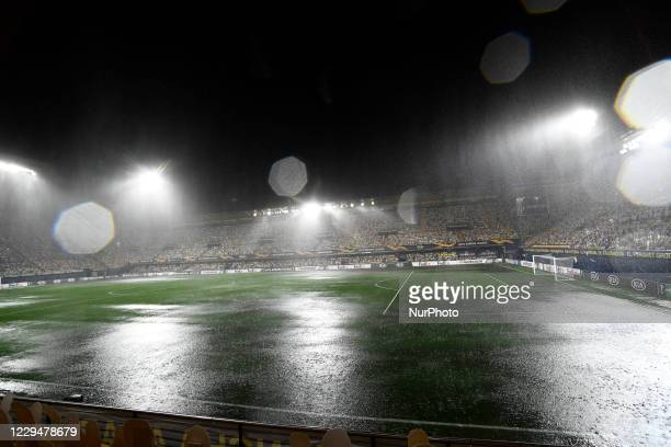 Flooded pitch prior to the UEFA Europa League Group I stage match between Villarreal CF and Maccabi Tel-Aviv FC at Estadio de la Ceramica on November...