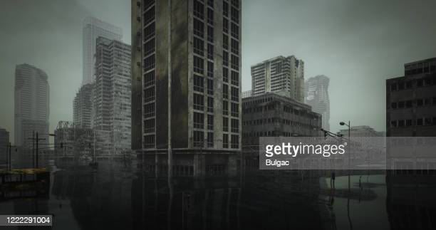 flooded post apocalyptic urban landscape - old ruin stock pictures, royalty-free photos & images