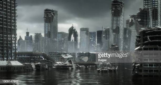 flooded post apocalyptic urban landscape - destruction stock pictures, royalty-free photos & images