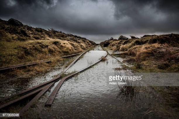Flooded railway track, Devon, UK