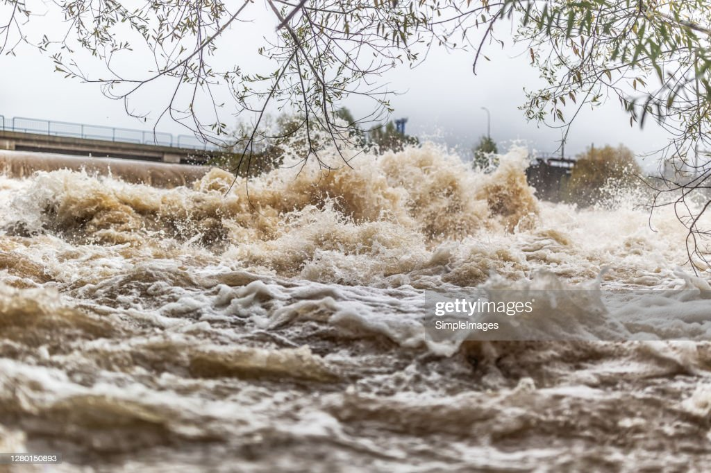 Flooded river during persistent heavy rain. : Stock Photo