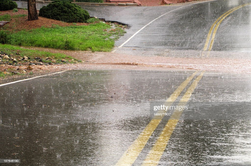 Flooded Road Hail Storm : Stock Photo