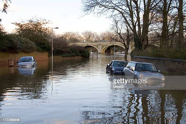 Flooded road near Richmond, London