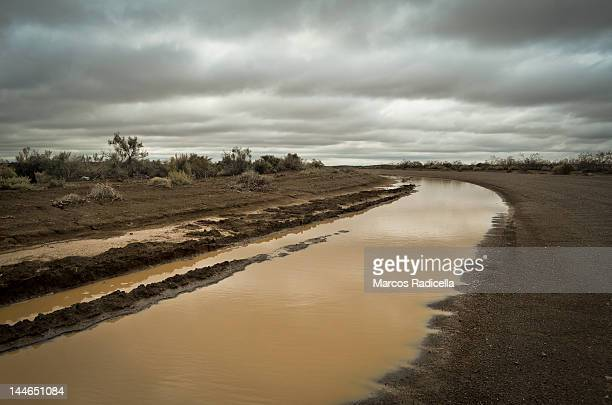 flooded road - patagonia - radicella stock pictures, royalty-free photos & images