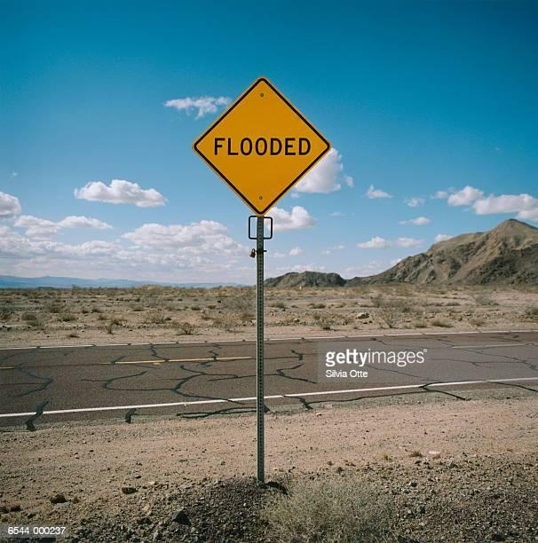 Flooded Sign in Desert