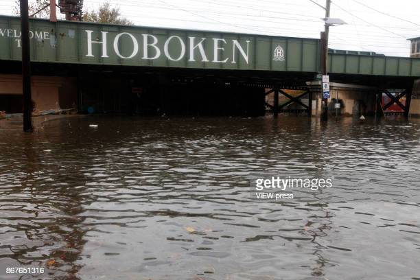 A flooded street is seen in Hoboken New Jersey on October 302012