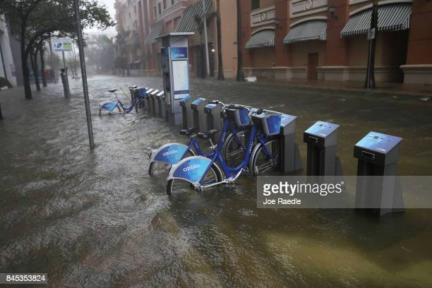 A flooded street is seen in the Brickell area of downtown as Hurricane Irma passes through on September 10 2017 in Miami Florida Hurricane Irma made...