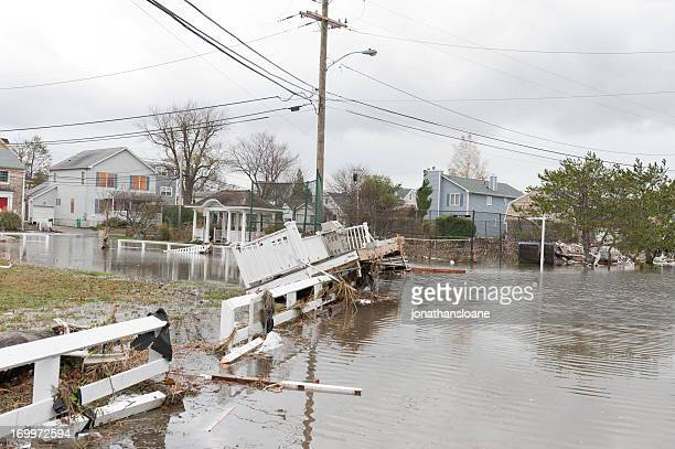 Flooded streets and debris caused by Hurricane Sandy