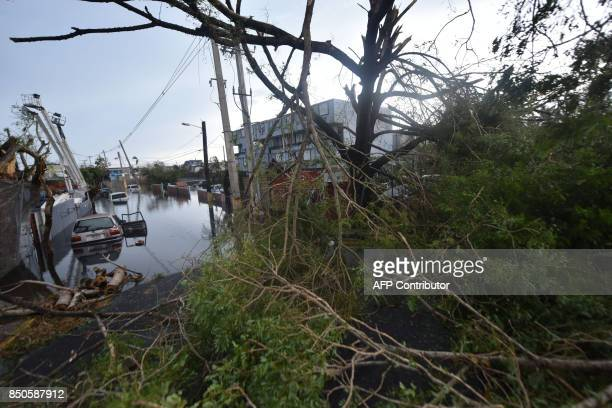 Flooded streets are seen in San Juan Puerto Rico on September 21 2017 after the passage of Hurricane Maria Puerto Rico braced for potentially...