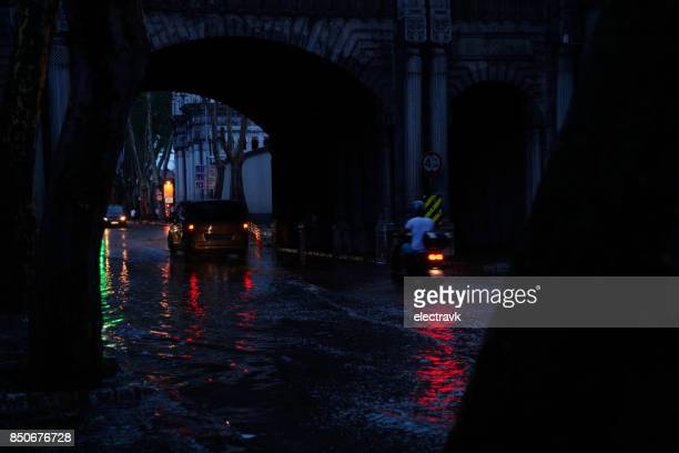 Flooded streets at dusk