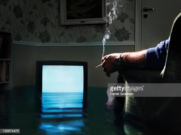 flooded TV in living room