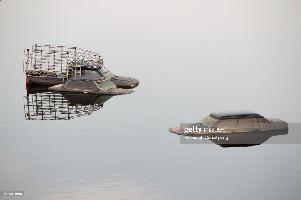 Flooded Vehicles after a Natural Disaster : Stock Photo