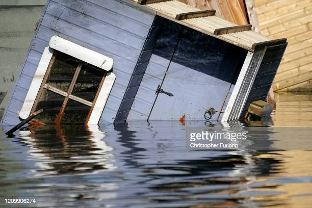 Flooding affects homes and businesses in the village of Snaith after the River Aire bursts its banks on March 02, 2020 in Goole, England. Flooding...
