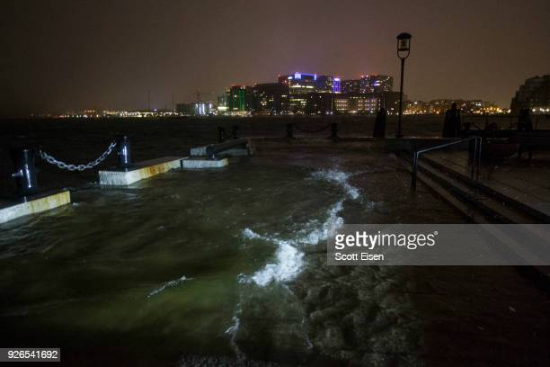 Flooding along Long Wharf as high tide approaches during a large coastal storm on March 2 2018 in Boston Massachusetts A nor'easter hit the east...