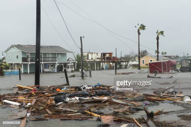Flooding and debris are seen after Hurricane Harvey hit Rockport Texas US on Saturday Aug 26 2017 As Harvey's winds die down trouble for Texas has...