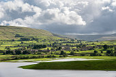 Flooding around the town of Hawes, Wensleydale, North Yorkshire, England