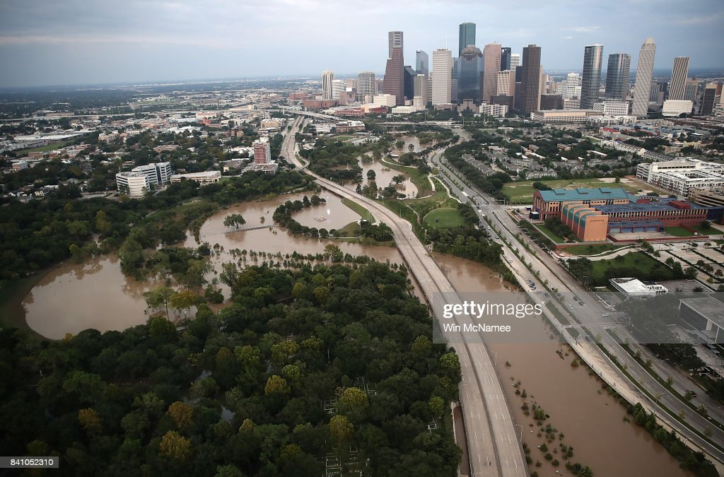 Flooding continues to be shown near downtown Houston following Hurricane Harvey August 30, 2017 in Houston, Texas. The city of Houston is still experiencing severe flooding in some areas due to the accumulation of historic levels of rainfall, though the storm has moved to the north and east.