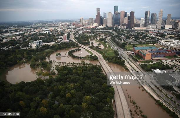 Flooding continues to be shown near downtown Houston following Hurricane Harvey August 30, 2017 in Houston, Texas. The city of Houston is still...