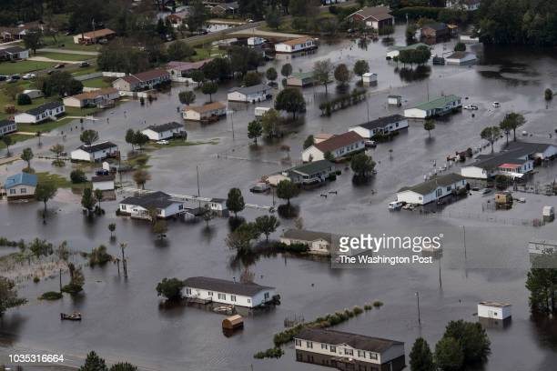 Flooding from Hurricane Florence is seen in Lumberton, NC on September 17, 2018.