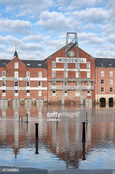 flooding from the river ouse in york in england - ouse river stock photos and pictures
