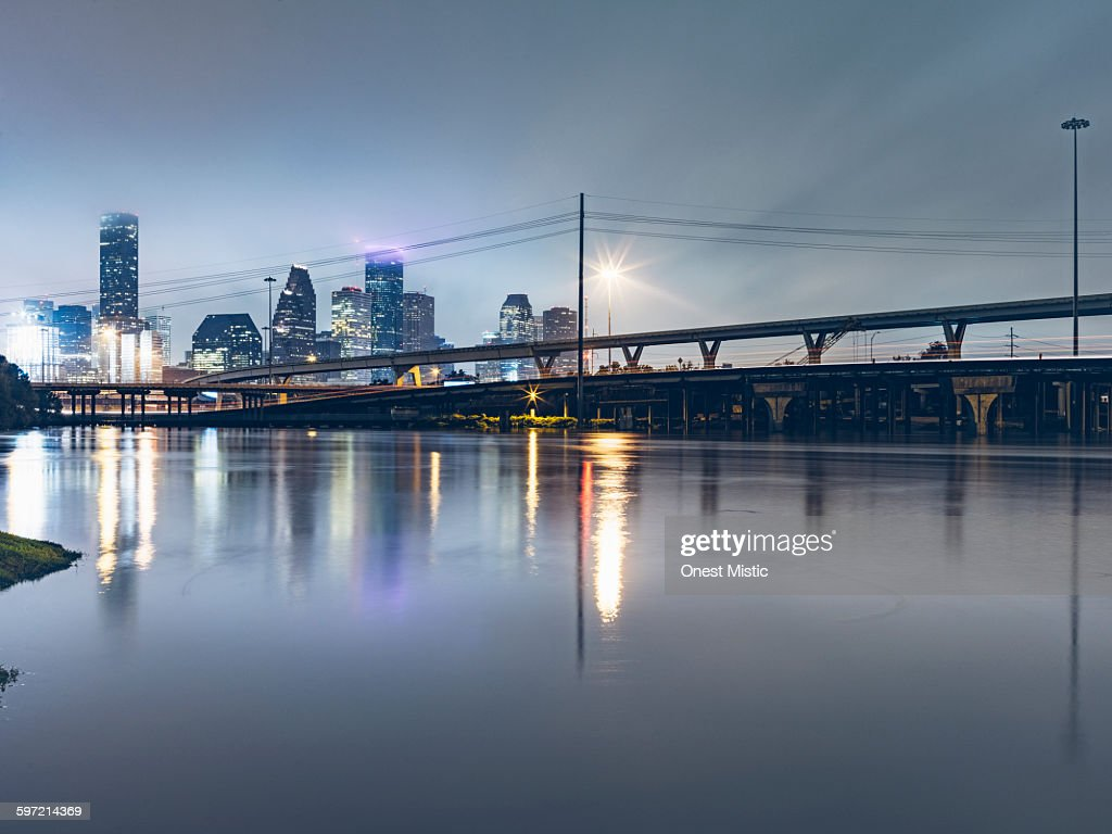 Flooding in downtown Houston, at night : Stock Photo