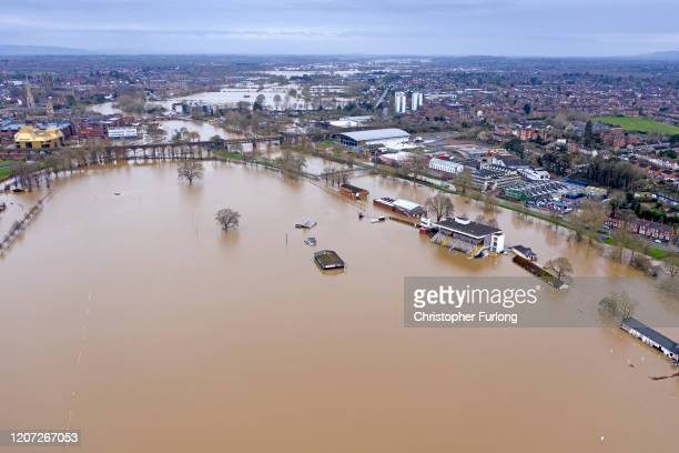 Flooding in Worcester city centre and the racecourse continues following Storm Dennis on February 19 2020 at Worcester England Storm Dennis is the...