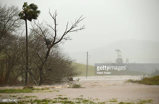 Flooding occurs downstream of Jerrara dam on August 25 2015 in Kiama Australia Residents downstreamm of the dam have been evacuated following the...