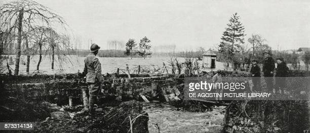 Flooding of the Oise river in Noyon France World War I from L'Illustrazione Italiana Year XLIV No 14 April 8 1917