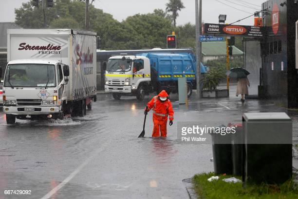 Flooding on Mt Albert Road as Cyclone Cook moves down the country on April 12 2017 in Auckland New Zealand