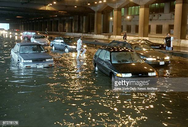 Flooding on the FDR Drive at 72nd St as Hurricane Floyd deluged the area