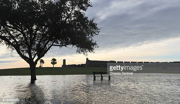 Flooding on the grounds of Castillo de San Marcos in the wake of Hurricane Matthew in St Augustine Fla on Saturday Oct 8 2016